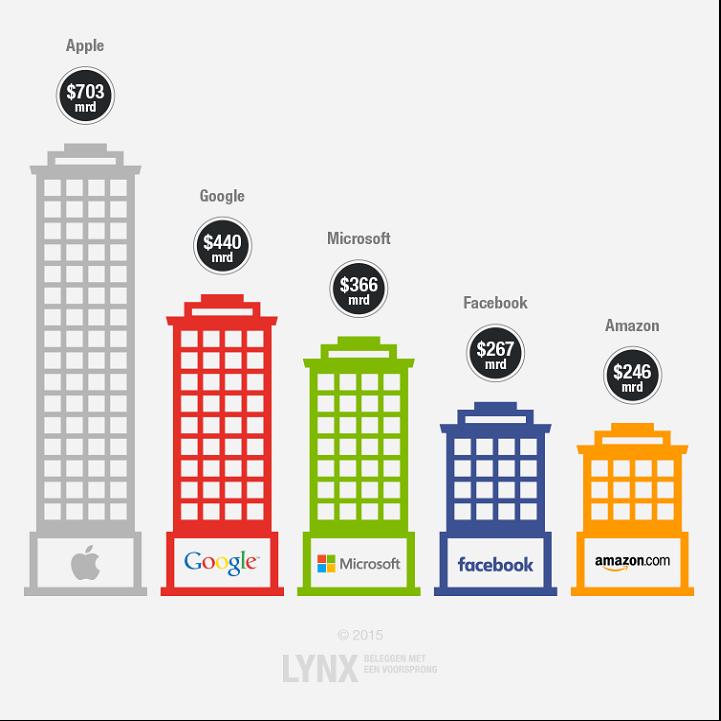 vijf grootste Amerikaanse technologie bedrijven