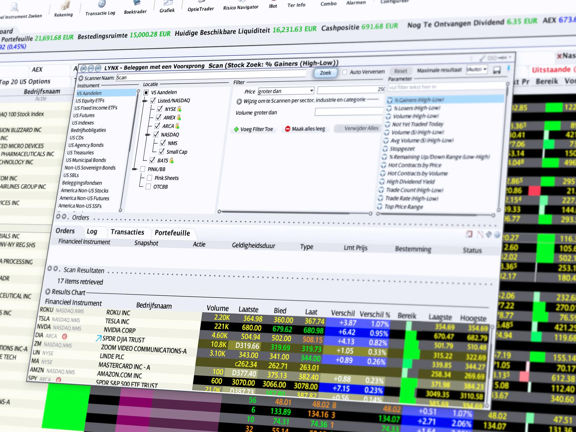 Markt Scanner - effecten zoeken
