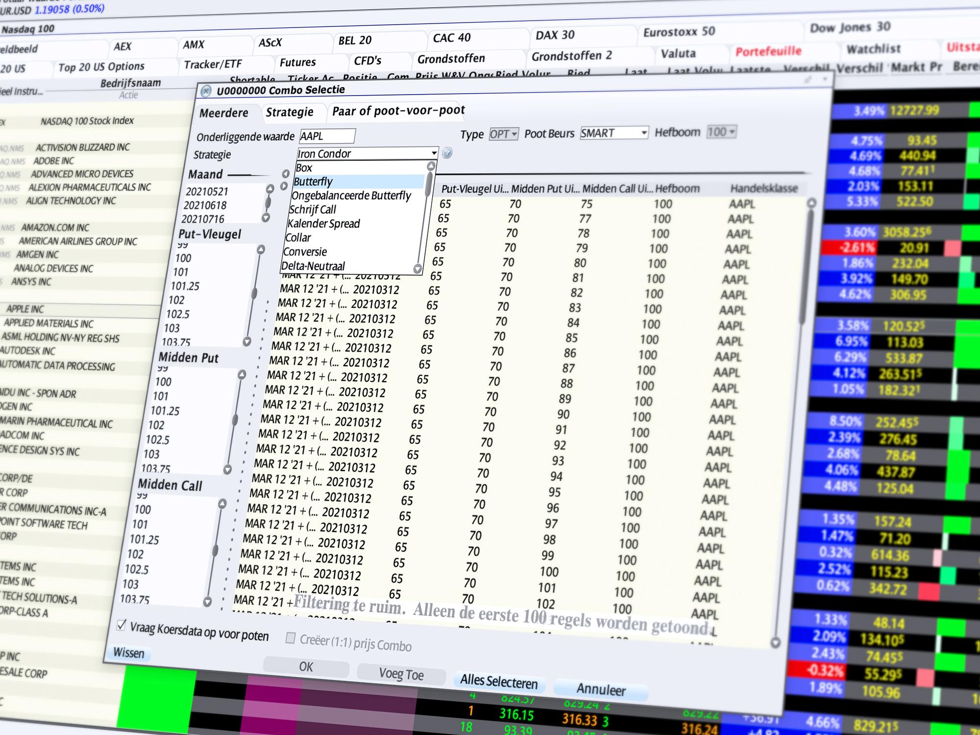 Combo Trader: Vergelijk optiecombinaties