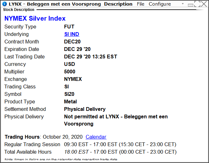 NYMEX silver index   Handelen in zilver