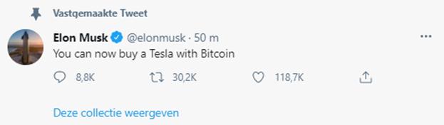 Tesla betaling met Bitcoin (TSLA)