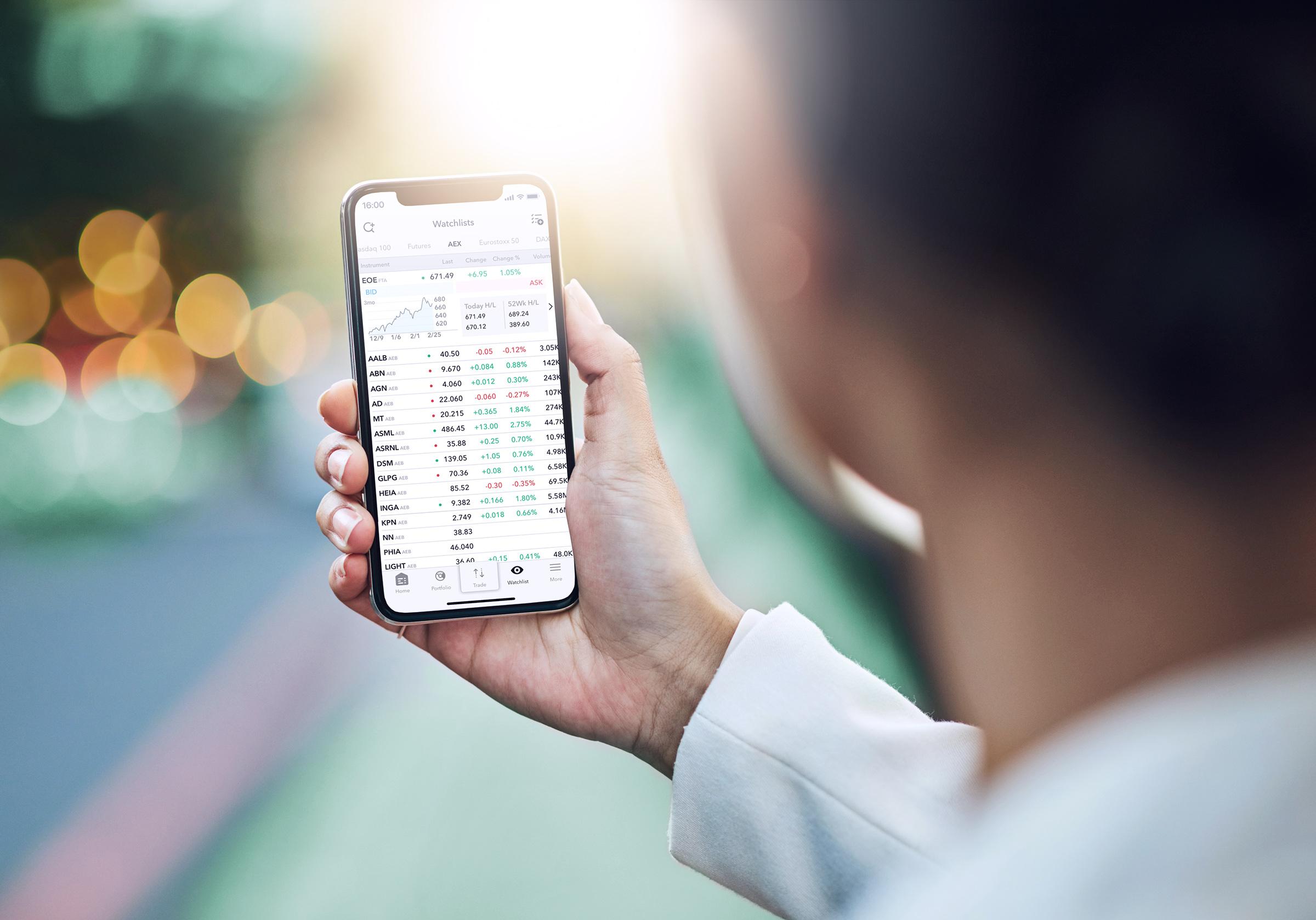 Mobiel beleggen via de webtrader LYNX Basic