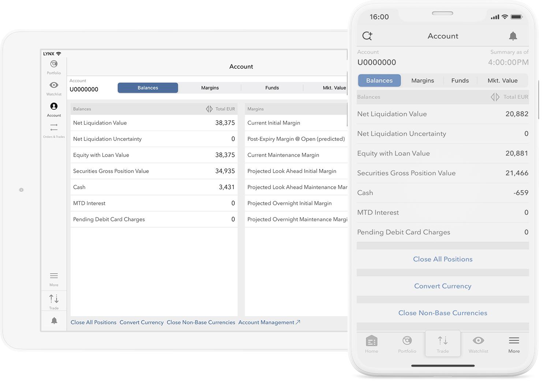 Mobiel rekeningoverzicht met de LYNX Trading Apps