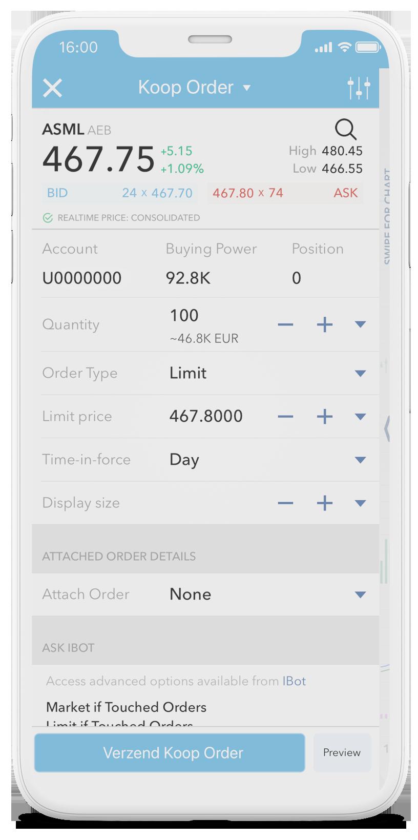 Mobiel beleggen iPhone Trading App - aandelen app iphone