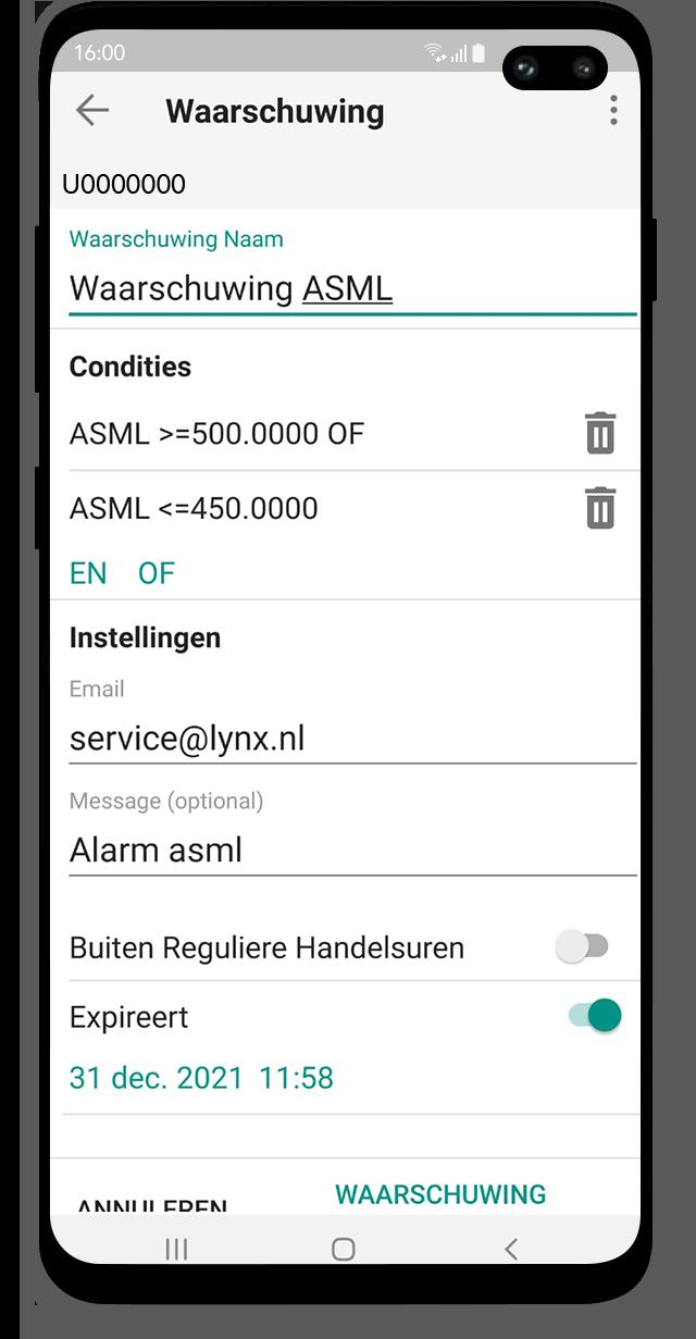 Android Trading App: Alerts en waarschuwingen